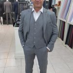 Elegant Light gray sharkskin 3 piece suit.