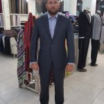 Slim fit smart navy business suit.