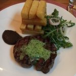 Steak with mushroom ketchup and chips