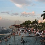 Crowded pool in the evening