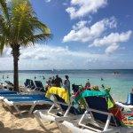 Longe chairs close to the beach.