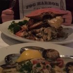 Whole Garlic Roasted Crab and Linguine and Clams