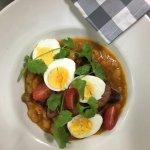 Spicy beans, chorizo & farm eggs