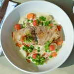 Cape linefish, baby vegetables with chenin blanc sauce