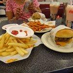 Johnny Rockets burger, Shake and fries.