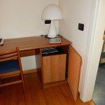 Desk and small fridge