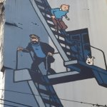 Tintin Mural in Brussels - up close