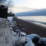 Across the road at the Lake Superior beach in winter