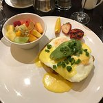 Eggs Benny with salmon and avocado