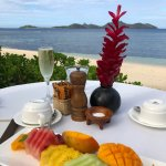 Beachside breakfast fruit plate.