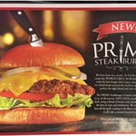 Place mat advertising their new Prime Steakburger