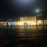 Dolmabahce Palace at night from cruise