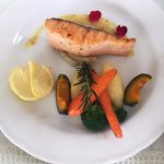 Salmon with vegetables and (tiny portion) mash potatoes