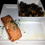 plank salmon with Brussels sprouts