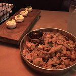 Deviled eggs and fried chicken skins