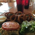 Crab cake sandwich and onion rings