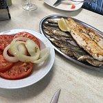 Grilled hake, sardines and tomato & onion salad
