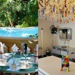 Petit déjeuner devant la piscine ou sous la véranda ... Hotel Sainte Valérie