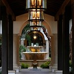 The fountain at the entrance of the Forbes Five-Star Spa at Sea Island