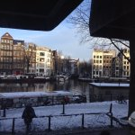 This was our view from the hotel looking at the Amstel