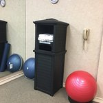 Fitness room(towels and stability balls)