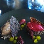 Dessert, scallops and mushroom arancini balls....