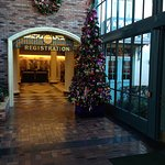 Lobby, decorated for Christmas