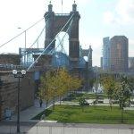 The famous suspension bridge - prototype for the Brooklyn Bridge
