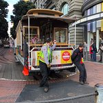 Pushing Cable Car back on street tracks