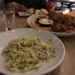 What to start with? Fresh cole slaw or the perfectly cooked fried chicken?