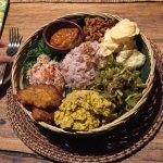 Home made vegetarian nasi campur