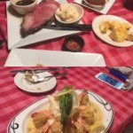 Prime rib and stuffed shrimp.
