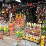 Colourful garden ceramics.