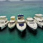 Part of the Virgin Motor Yachts fleet of motor yachts and power catamarans