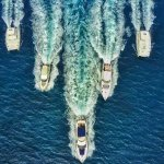 Awesome aerial shot of the Virgin Motor Yachts fleet