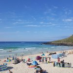 The stunning view of Porthmeor beach from the terrace