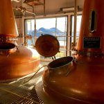 Raasay Distillery still room, with arguably the best view from any distillery in Scotland.