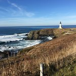 walk from interpretive center to Yaquina lighthouse
