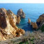 Ponta da Piedade, as seen from the cliff - notice the stone stairs!!