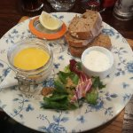 Potted smoked haddock and crayfish tails with bread and salad