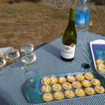 Water, Wine, Cheese and Cookies for Picnic Break