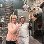 We met Arya, a red tail hawk, on the patio of Southwest Bistro...Great experience!