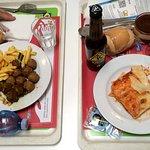 Lasagne e polpette con patatine