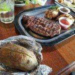 Steak and stuffed shrimp...Surf And Turf.