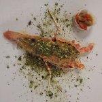 aragosta gratinata ,lardo di colonnata ,cipollata allagrappa