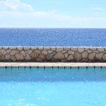 Pool is cliffside.