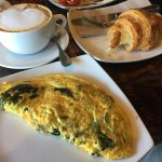 Cafe Dolce - Spinach & Feta Cheese Omelet with Croissant & Cappucino, Norwalk CT