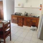 Kitchen, refrigerator and TV