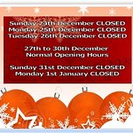 Christmas&New Year Opening Hours