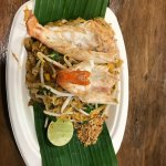 pad thai with giant shrimps